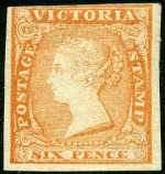 1854 6d Dull Orange Woodblock imperf with 3 margins in fine unused condition. Very slightly cut into at top. Sg 32a. Catalogue Value $399.00.