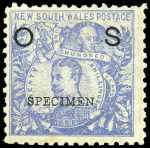 1891 20/- Cobalt-Blue Carrington O/P OS perf 10 with 20/- NSW Wmk overprinted Specimen fine mint. Crease at lower right. Sg 050.