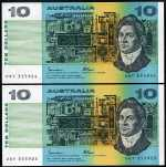 1985 $10.00 Johnston/Fraser (6) and 1991 $10.00 Fraser/Cole (4) banknotes Unc. Some consecutive.