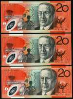 1994 $20.00 Fraser/Evans (3, 2 consecutive) and 2002 $20.00 Macfarlane/Henry (2, one with first prefix AA02) Polymer banknotes Unc.