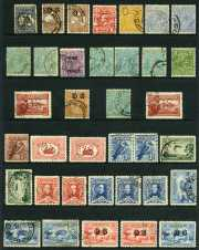Selection of 111 used Kangaroo, KGV and Pre-Decimal issues from 1913 to 1950 including 1913 2½d Indigo 1st Wmk Kangaroo perf large OS, 1932 6d Chestnut Small Mult and C of A Wmk Kangaroo's O/P OS, 1932 5d Brown C of A Wmk KGV O/P OS, 1914 6d Claret Kooka, 1927 1½d Canberra perf OS (2), 1929 1½d WA Centenary perf OS (2), 1932 1/- Lyrebird O/P OS, 1932 3d Sydney Harbour Bridge O/P OS block of 4, 1932 6d Brown Kooka imprint block of 4, 1935 2/- Silver Jubilee, 1935 1/- Anzac (2), 1937 9d NSW Sesqui block of 4, 1938 Thick Paper Robe set, 1949-50 Arms set (2) and many other handy items. Majority commercially used. Presentable copies with some perf faults.