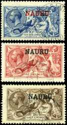 1916 5/- and 10/- De La Rue Printing and 1919 2/6 Bradbury Wilkinson Printing Seahorse set VFU and reasonably well centered. 2/6 with small tone spot. Sg 22, 23 and 24. Catalogue Value $1,270.00