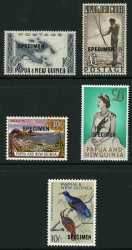 1952 10/- Map and £1 Fisherman O/P Specimen, 1963 10/- Rabaul with 13½mm Specimen O/P, 1963 £1 QEII with 15½mm Specimen O/P and 1964 10/- Bird O/P Specimen MUH. Retail $395.00.