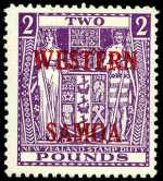 1955 £2 Bright Purple Arms Postal Fiscal with wide Western Samoa O/P MLH. Sg 235. Catalogue Value $398.00.