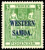 1948 £3 Green Arms Postal Fiscal with multiple NZ Star Wmk O/P Western Samoa MUH with slightest trace of gum toning. Sg 213. Catalogue Value $472.00.