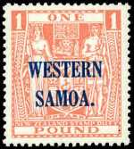 1948 £1 Pink Arms Postal Fiscal with multiple NZ Star Wmk O/P Western Samoa MUH. Sg 210. Catalogue Value $229.00.