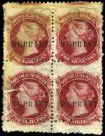 1855 1d Green and 6d Blue imperf, 1861 1/- Yellow roulette and 1869-70 3d on 4d Sky-Blue, 4d Purple, 6d Blue, 1/- Brown and 2/- Carmine perf 11½-12½ Queen Victoria O/P Reprint, all in blocks of 4 with wide Crown SA Wmk mint without gum. 1d and 6d imperfs with part original gum and 2/- with pre-printing paper crease. Rarely seen in blocks of 4 as most examples were used singularly on presentation sheets.