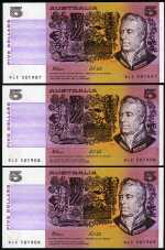 1991 $5.00 Fraser/Cole banknotes Unc. (14). Some consecutive.
