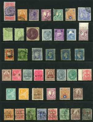 Selection of 135 mostly used stamps including range of imperf issues, perforation and watermark variations and some duplication. Noted 1890 20/- Cobalt-Blue Carrington perf 11 with 20/- NSW Wmk and 1894-1904 10/- Violet and Claret Queen Victoria perf 12 x 11 O/P Postage in Blue, both CTO with the 3 concentric oval cancellation. Varied condition.