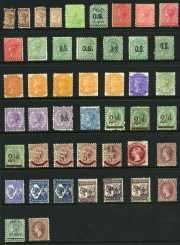 Selection of 277 mostly used stamps including imperf and roulette issues, perforation and watermark variations and a range of OS issues. Noted 1891 2½d on 4d and 5d on 6d Surcharges O/P Specimen mint and 6d Blue O/P L.T. (Lands Title) and 2d Orange pair O/P P. (Police) Departmental overprints used. Some duplication and varied condition.