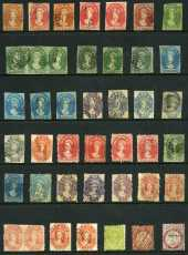 Selection of 163 mint and used stamps including range of imperf issues, perforation and watermark variations and some duplication. Noted 1858 2d Deep Green Chalons Head imperf strip of 3 FU, 1892-99 Queen Vic TAS Wmk Tablet set to 10/- MUH (2½d and 10/- MLH) and 1899-1900 1d (2), 2d (2), 2½d, 3d, 4d and 6d Pictorials O/P Specimen MLH. Varied condition. High catalogue value.