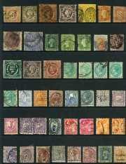 Collection of hundreds of used stamps with all States represented including range of handy items and some Duty stamps. Noted New South Wales 1890 20/- Carrington perf 10 with 20/- NSW in circle Wmk. Varying duplication and mixed condition.