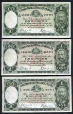 1933 £1 Riddle/Sheehan KGV Banknotes (10). All have been cleaned, 3 with small tears, otherwise graded F/VF.
