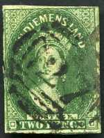 1855 2d Deep Green Chalons Head Large Star Wmk imperf with 4 margins, just shaved in one spot at left used with No 27 Numeral cancellation of Emu Bay. Sg 15. Catalogue Value $1,050.00.