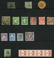 Selection of 180 mostly used stamps mainly from Queensland and New South Wales including few handy items and some duplication. Noted Western Australia 1854 1d Black Swan imperf FU with 3 margins. Varied condition. Also small range of mainly low value Pre-Decimal imprint blocks of 4 MUH.