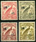 1932-34 Undated Birds set O/P Air Mail MLH. 3d value has tiny thin. Sg 190-203. Retail $325.00.