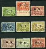1925 Huts set O/P OS FU. 2d and 3d values with small faults. Sg O22-O30. Retail $225.00.