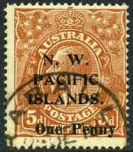 1918 1d on 5d Brown KGV Type A FU and centered to upper right. Sg 100. Retail $175.00.
