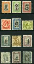 1932 Pictorial Definitive set to 10/- value mixed MVLH and MUH. 4d and 1/3 values hinged. Sg 130-144. Catalogue Value $420.00.