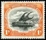 1901-1905 1/- Black and Orange Thin paper Lakatoi with vertical Wmk in fine MLH condition. Sg 15a. Retail $950.00.