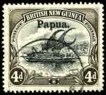 1906-1907 4d Black and Sepia Thick paper Large Papua O/P Lakatoi with Vertical Wmk VFU. Sg 25. Retail $275.00.