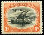 1906-1907 1/- Black and Orange Thick paper Small Papua O/P Lakatoi with Horizontal Wmk MLH. Tone spot on gum of one perf. Sg 36. Retail $375.00.