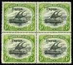 1906-1907 ½d Black and Yellow-Green Thin paper Small Papua O/P Lakatoi with Vertical Wmk in block of 4 from sheet positions 16-17 and 21-22, with overprint varieties