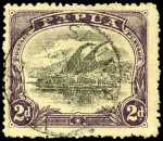 1910-1911 2d  Black and Purple perf 12½ Large Papua Lakatoi with variety