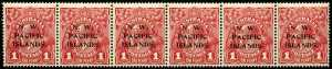 1918-23 1d Carmine-Red KGV with P over IS O/P in MUH horizontal strip of 6, 2 central units being Die II. Sg 103 and 103b. Retail for MLH $370.00.
