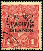 1919 1d Rosine Die I Rough paper KGV with P over IS O/P perf OS FU, with 1958 BPA certificate stating,