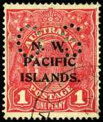 1919 1d Rosine Die I Rough paper KGV with P over IS O/P perf OS CTO at Rabaul in 1924, with a few blunt perfs. Sg O16. Retail $375.00.