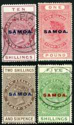 1925-28 2/6, 5/-, 10/- and £1 Queen Victoria Postal Fiscal issues on Cowan paper O/P Samoa. 2/6 and £1 values are MLH, the others FU. Sg 166 and 166b-166d. Catalogue Value $656.00.