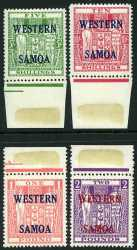 1955 Arms Postal Fiscal set with wide Western Samoa O/P MUH. Sg 232-235. Catalogue Value $231.00.