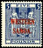1935 £5 Indigo-Blue Arms on Cowan paper MLH and centered to right. Sg 194. Catalogue Value $473.00.