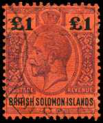 1914 £1 Purple and Black on Red KGV FU. Sg 38. Catalogue Value $253.00.