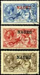 1916 Seahorse set of 3 VFU, the 5/- value with one short perf. Retail $750.00.