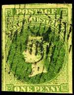 1858 1d Deep Yellow-Green Queen Victoria imperf fine used with jumbo margins, slightly cut into on lower margin. Sg 5. Catalogue Value $1,155.00.