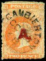 1868 2d Vermillion Queen Victoria Roulette Departmental O/P A. in Red fine used with neat 1868 Gambierton broken ring cancellation. Thinned, but attractive appearance. Rated 4R.