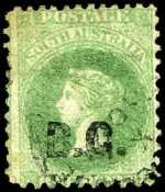 1869-73 1d Green Queen Victoria perf 10,12 Departmental O/P B.G. in Black (Botanical Gardens) FU. Rated 4R.