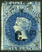 1869-74 6d Prussian Blue Queen Victoria roulette Departmental O/P C. (Customs) in Black fine used. Rated 2R.
