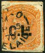 1869-74 2d Orange Red Queen Victoria roulette with Crown SA Wmk Departmental O/P C.L. (Crown Lands) in Black fine used. Rated 3R.