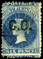 1869-74 6d Prussian Blue Queen Victoria perf 12 Departmental O/P C.O. (Commissariat Office) in Black fine used. Rated 2R.