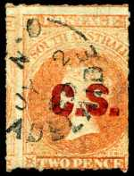 1868 2d Vermillion Queen Victoria roulette Departmental O/P C.S. (Chief Secretary) in Red fine used. Rated 2R.
