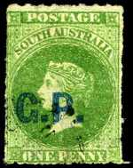 1868-69 1d Green Queen Victoria roulette Departmental O/P G.P. (Government Printer) in Blue fine used. Rated R.