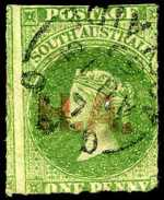 1868-69 1d Green Queen Victoria roulette Departmental O/P H.A. (House of Assembly) in Red fine used. Rated 2R.