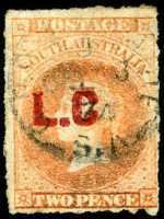 1868-69 2d Vermillion Queen Victoria roulette Departmental O/P L.C without full stop after C (Legislative Council) in Red fine used. Rated 2R.
