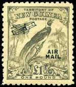 1932 £1 Undated Bird O/P Air Mail MLH and well centered. Sg 203.
