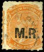 1869-73 2d Orange-Red Queen Victoria roulette Departmental with Star Wmk O/P M.R. (Manager of Railways) in Black fine used. Rated 2R.