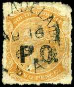 1869-73 2d Orange-Red Queen Victoria roulette Departmental with Star Wmk O/P P.O. (Post Office) in Black fine used with some faults. Rated 3R.