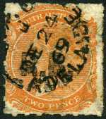 1869-73 2d Orange-Red Queen Victoria roulette Departmental O/P R.B. (Road Board) in Black fine used. Rated R.